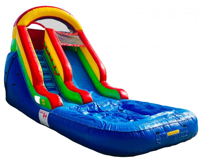 (A) 15ft Rainbow Water Slide with pool Rental