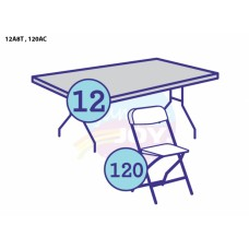 (C) 12 - Adult 8ft Rectangular Tables w/120 Chairs