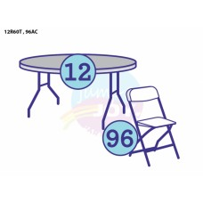 (B) 12 - Adult Round Tables w/96 Chairs