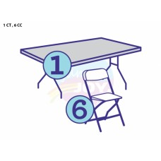(A) 4ft Rectangular child Table w/6 child Chairs