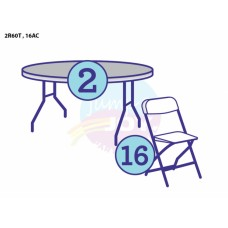 (A1) 2 - Adult Round Tables w/16 Chairs